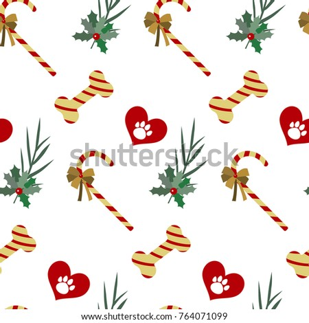 Vector flat background with christmas elements . Pet zone, Wrapping paper. Happy Christmas for my love pet.