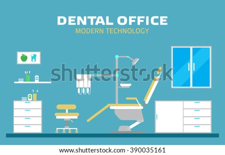 Vector flat banner dental office with seat and equipment tools. Medical arm-chair illustration. Colorful template for you design, web and mobile applications. EPS 10 - stock vector