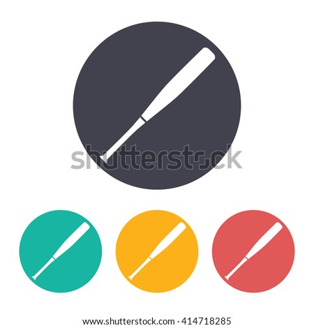 Vector flat baseball bat icon with set of 3 colors  - stock vector