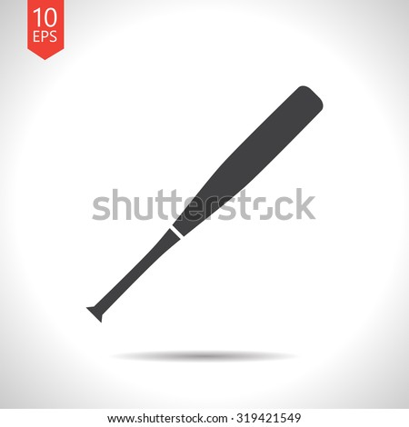 Vector flat black baseball bat icon on white background  - stock vector