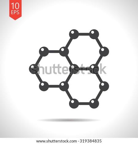 Vector flat black graphene icon on white background . Science illustration  - stock vector