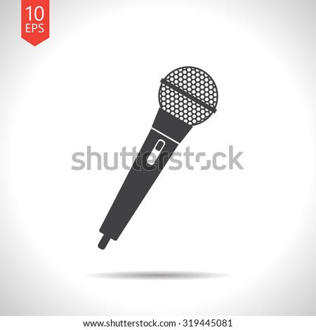 Vector flat black hand microphone icon on white background  - stock vector