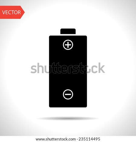 vector flat black icon of battery. eps10 - stock vector