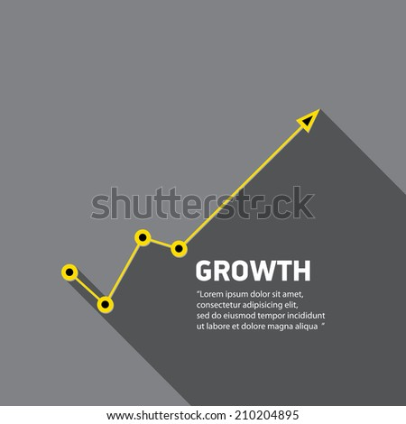 vector flat Business graph and chart on grey background. vector golden grow up arrow.