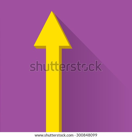 vector flat Business graph and chart on violet background.vector golden grow up arrow - stock vector