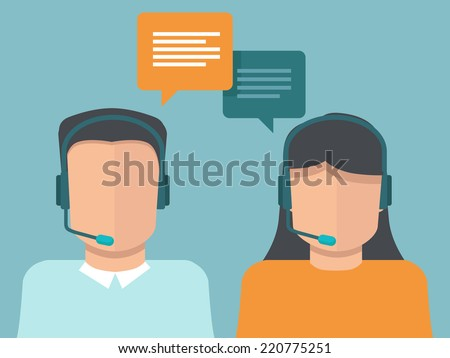 Vector flat call center operators - man and woman working as customer support - stock vector