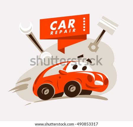 vector flat car repair service emblemのベクター画像素材 490853317