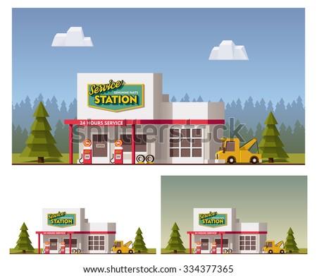 Vector flat Car Service building icon - stock vector