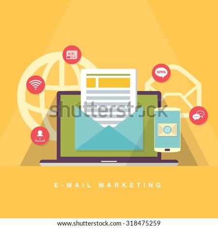 Vector flat cartoon illustration of e-mail marketing concept. - stock vector