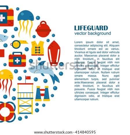 Vector flat cartoon lifeguard beach objects: buoy, shark, medusa, lifebuoy, life vest, whistle. Cartoon vector lifeguard icons. Emergence, survival, security beach nautical objects. Summer background - stock vector