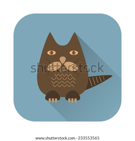 vector flat cat icon - stock vector