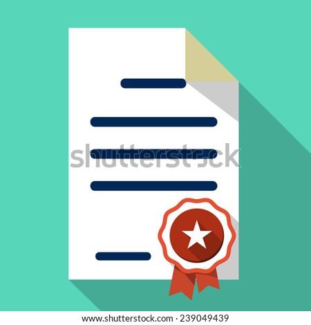 Vector Flat Certificate Icon - stock vector