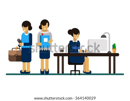 Vector flat character design on business woman working in office behind her desk with desktop computer and coffee in paper cup. Different poses of business woman  - stock vector