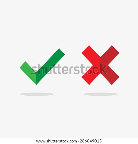 Vector flat check mark icons with long shadow for web and mobile apps. Red and green colors