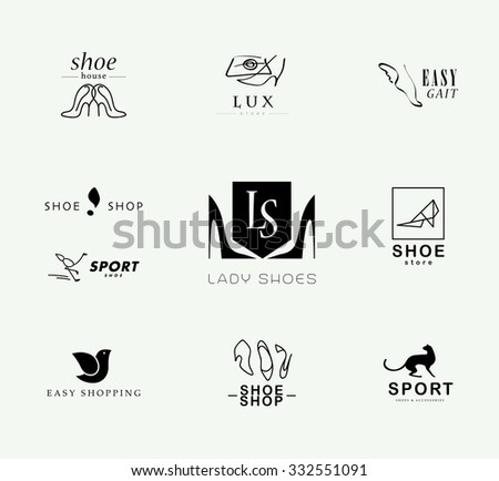 Vector flat collection of stylish modern shoe logo for women, men and kids. Footwear brand insignia isolated. Shoe icons set. Shoe store insignia. - stock vector
