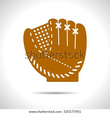 Vector flat color baseball glove icon  on white background  - stock vector