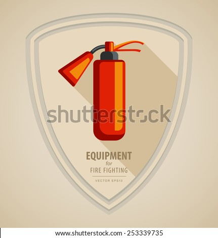 Vector flat color icon illustrations - equipment for firefighter or volunteer. Color image on black and white background in form emblem of the shield. Yellow red fire extinguisher - stock vector