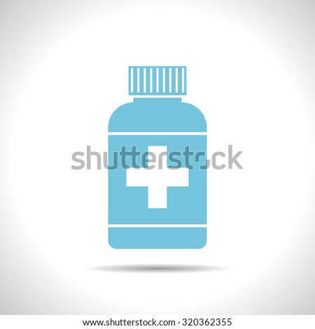 Vector flat color tablet bottle  on white background . Health icon  - stock vector
