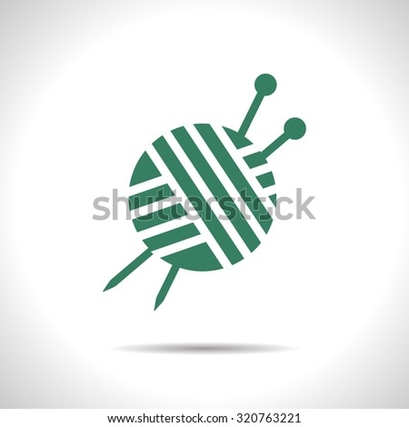 Vector flat color tailor ravel ball of yarn for knitting icon  on white background  - stock vector
