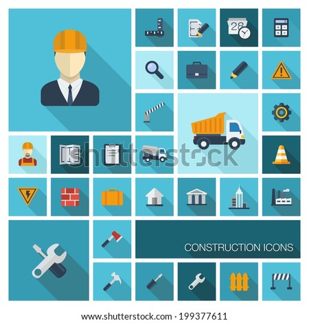 Vector flat colored icons set with long shadows.Abstract background with industrial, architectural,engineering symbol: worker,building,truck,draft.Construction design elements in graphic illustration. - stock vector