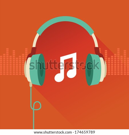 Vector flat concept - headphones and musical note - stock vector