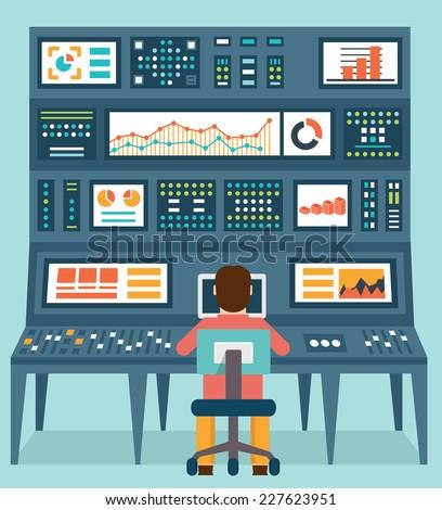 Vector flat concept of analytics information and data handling - vector illustration - stock vector