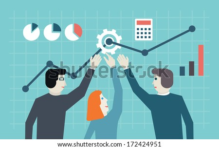 Vector flat concept of management, human resources and teamwork. Workforce and development - vector illustration - stock vector