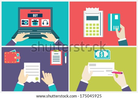 Vector flat concept of process order and delivery. Infographic of internet marketing and e-commerce - vector illustration - stock vector
