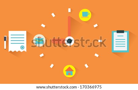 Vector flat concept of time management. Clock face and timetable - vector illustration - stock vector