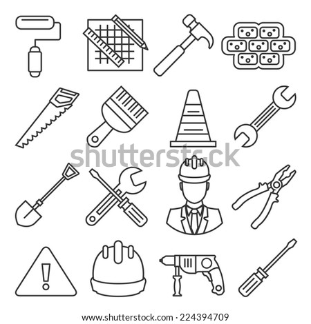 Vector flat construction and tools outline icons set. Collection of working tools and construction elements, isolated objects, illustrations in modern trendy outline strokes style. - stock vector