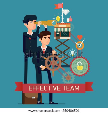 Vector flat creative concept design on effective team in business strategy digital and social media marketing leadership optimization smart solutions reaching the top fast growing development - stock vector