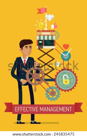 Vector flat creative concept design on effectiveness in business strategy digital and social media marketing leadership optimization smart solutions reaching the top fast growing development - stock vector