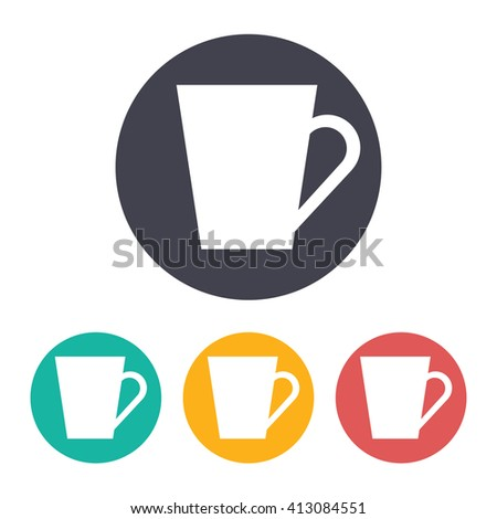 Vector flat cup for tea or coffee icon with set of 3 colors
