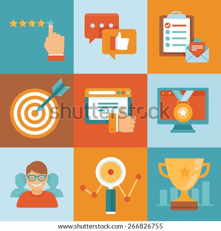 Vector flat customer service concepts - icons and infographic design elements - client experience and top ranking  - stock vector