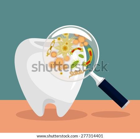 Vector flat dental illustration - stock vector