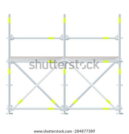 vector flat design aluminum prefabricated scaffolding isolated illustration white background