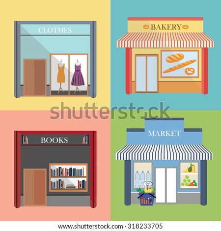 Vector flat design architecture detailed icons.  Facade with awning, book store, boutique, small bakery and grocery market. Small business icons with store facades - stock vector