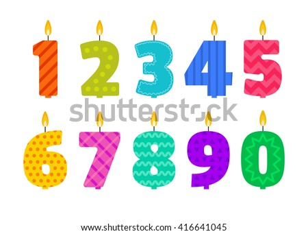 Vector flat design birthday candle set in the shape of all numbers. Burning colorful candles with different festive patterns in flat style. For anniversary party invitation, cards design, decoration. - stock vector
