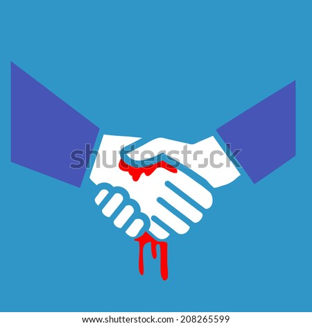 vector flat design bloody handshake business icon | white and red isolated pictogram illustration on blue background
