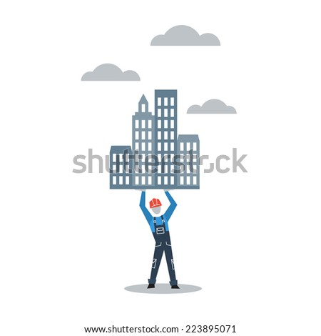 vector flat design building city towers - stock vector