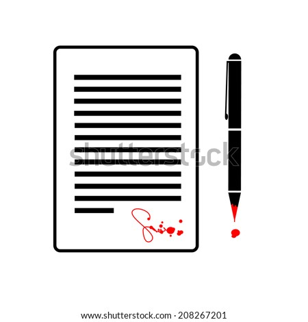 vector flat design business icon of contract with devil signed by blood black and red isolated pictogram illustration on white background - stock vector