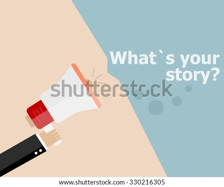 vector flat design business illustration concept. What is Your Story. Digital marketing business man holding megaphone for website and promotion banners.  - stock vector
