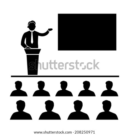 vector flat design business training conference icon | black isolated pictogram illustration on white background - stock vector