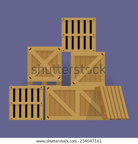 Vector flat design cartoon stacked wooden containers and crates isolated - stock vector