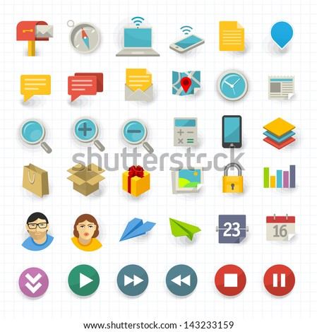 Vector flat design communication and business icon set stock vector