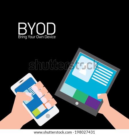 vector flat design concept of BYOD bring you own device. hand holding device. flat style vector illustration