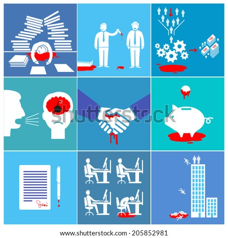 vector flat design conceptual bloody business icons and illustrations set of depression, stress and pressure adverse impacts on people | white and red pictograms isolated on colorful background - stock vector