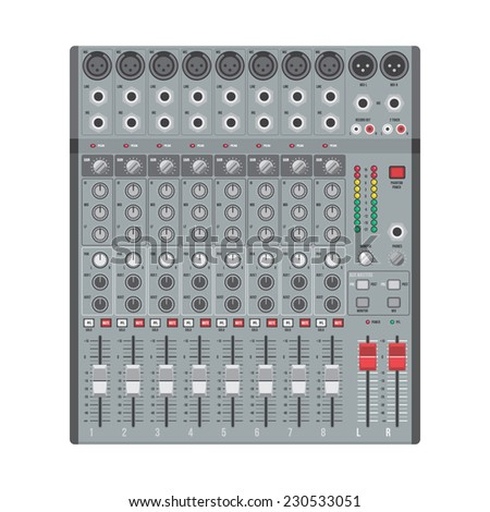 vector flat design concert sound mixer with knobs sliders and inputs  - stock vector