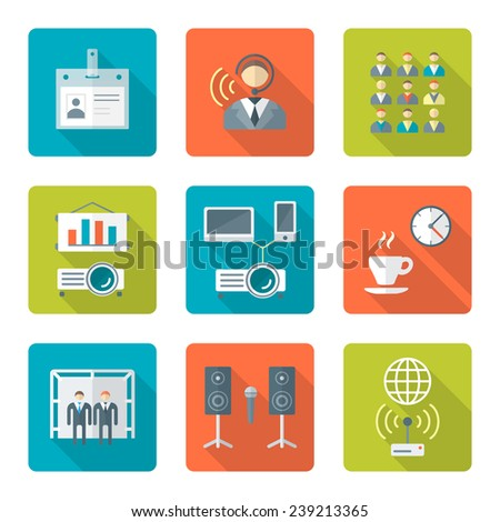 vector flat design conference presentation theme icons with shadows - stock vector