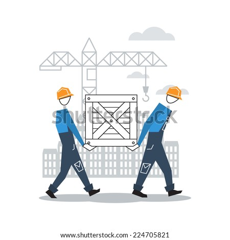 vector flat design construction workers - stock vector